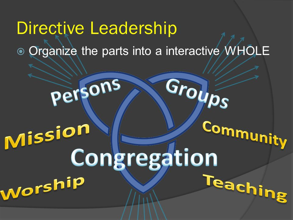 Directive Leadership  Organize the parts into a interactive WHOLE