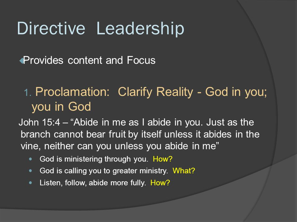 Evocative leadership through Holy Conversations Aims:  to ask probing questions about spirituality (connecting spirituality to ministry)  to evoke greater spiritual engagement through ministry  to help people organize their own communities of ministry