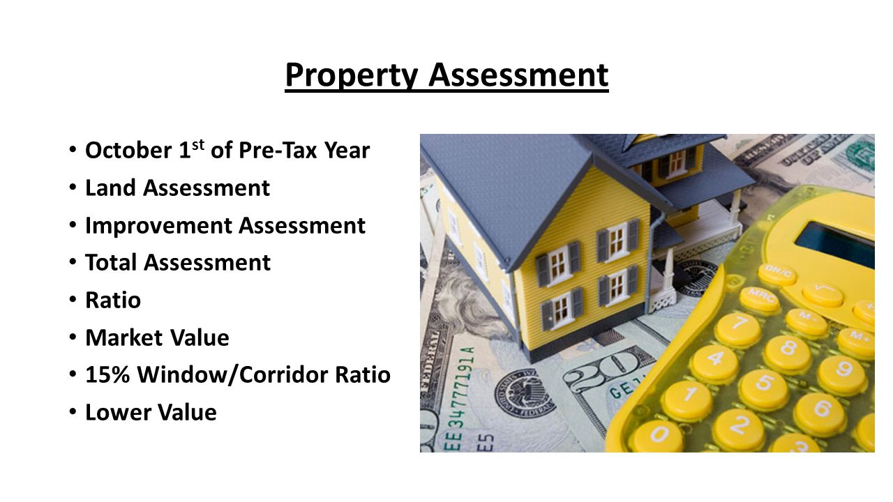 Property Assessment October 1 st of Pre-Tax Year Land Assessment Improvement Assessment Total Assessment Ratio Market Value 15% Window/Corridor Ratio