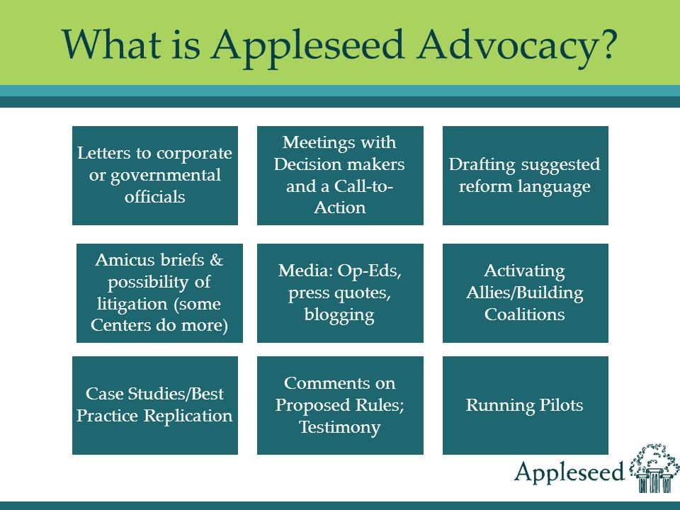 What is Appleseed Advocacy.