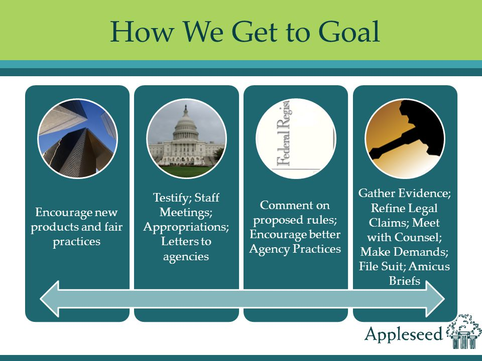 How We Get to Goal Encourage new products and fair practices Testify; Staff Meetings; Appropriations; Letters to agencies Comment on proposed rules; Encourage better Agency Practices Gather Evidence; Refine Legal Claims; Meet with Counsel; Make Demands; File Suit; Amicus Briefs