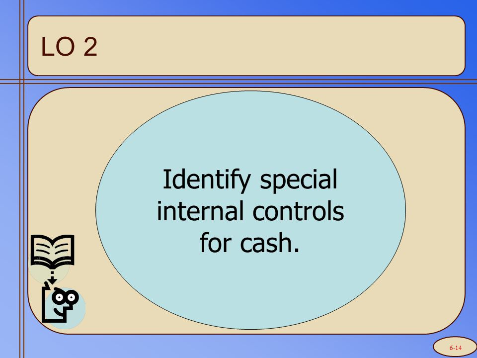 Identify special internal controls for cash. LO 2 6-14