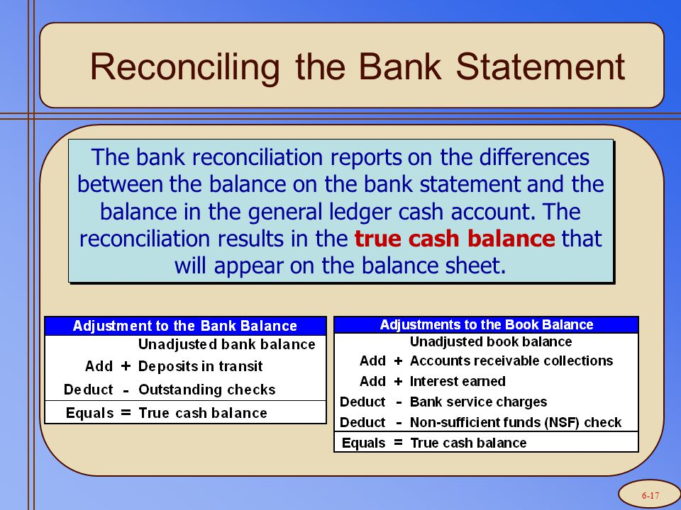 Reconciling the Bank Statement The bank reconciliation reports on the differences between the balance on the bank statement and the balance in the gen