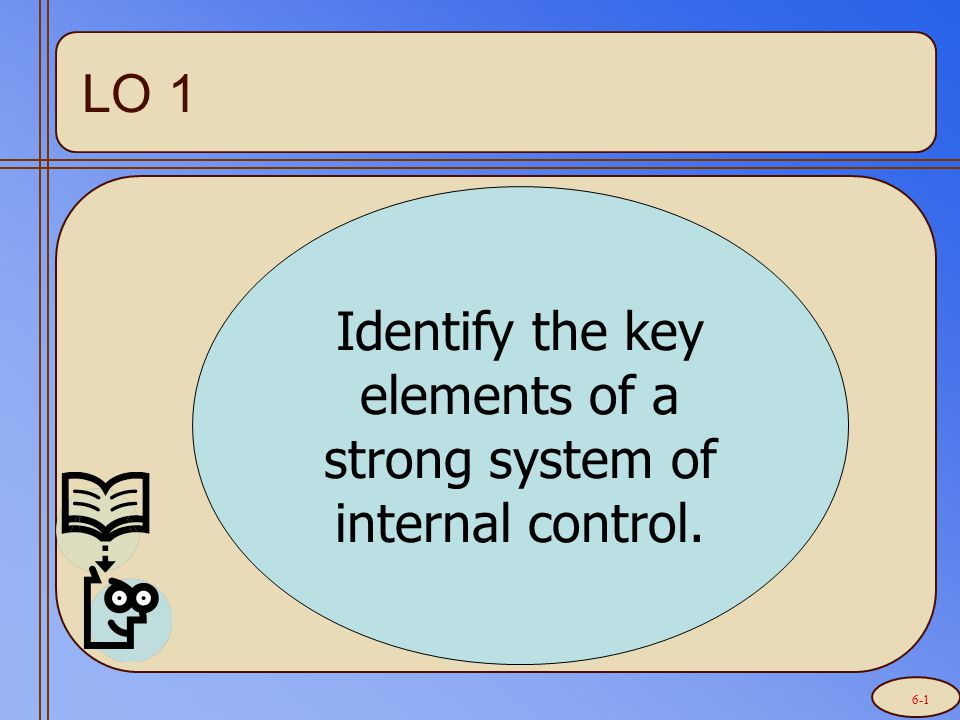Identify the key elements of a strong system of internal control. LO 1 6-1