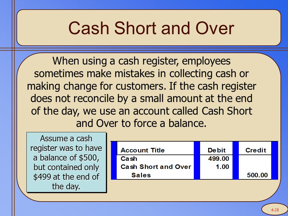 Cash Short and Over When using a cash register, employees sometimes make mistakes in collecting cash or making change for customers. If the cash regis