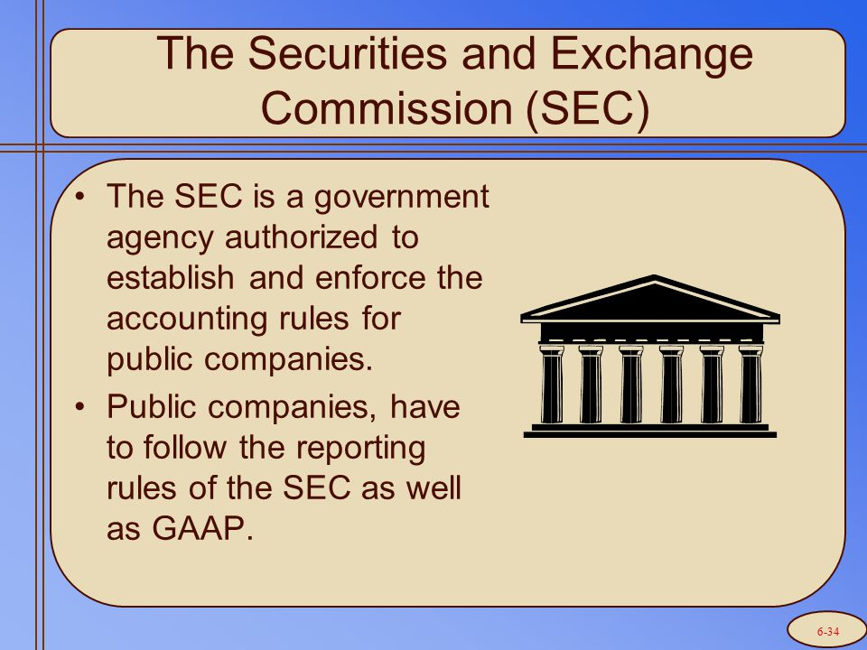 The Securities and Exchange Commission (SEC) The SEC is a government agency authorized to establish and enforce the accounting rules for public compan