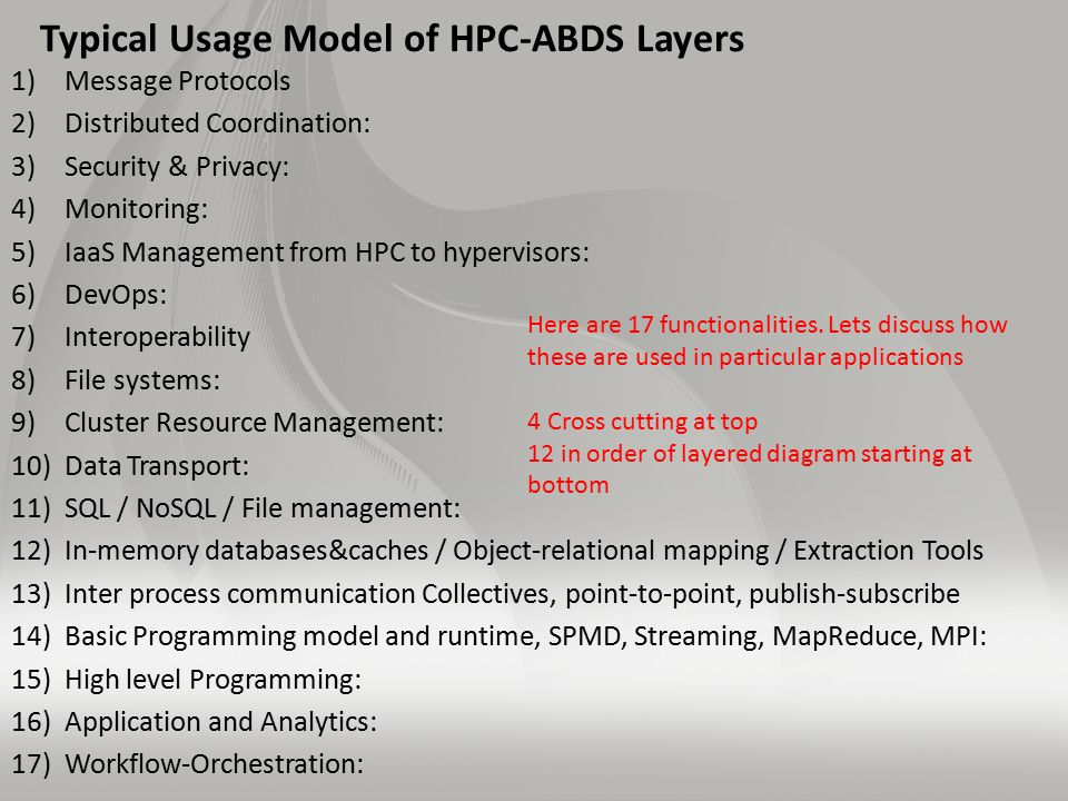 Typical Usage Model of HPC-ABDS Layers 1)Message Protocols 2)Distributed Coordination: 3)Security & Privacy: 4)Monitoring: 5)IaaS Management from HPC to hypervisors: 6)DevOps: 7)Interoperability 8)File systems: 9)Cluster Resource Management: 10)Data Transport: 11)SQL / NoSQL / File management: 12)In-memory databases&caches / Object-relational mapping / Extraction Tools 13)Inter process communication Collectives, point-to-point, publish-subscribe 14)Basic Programming model and runtime, SPMD, Streaming, MapReduce, MPI: 15)High level Programming: 16)Application and Analytics: 17)Workflow-Orchestration: Here are 17 functionalities.