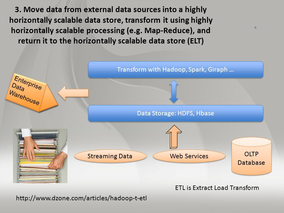 3. Move data from external data sources into a highly horizontally scalable data store, transform it using highly horizontally scalable processing (e.