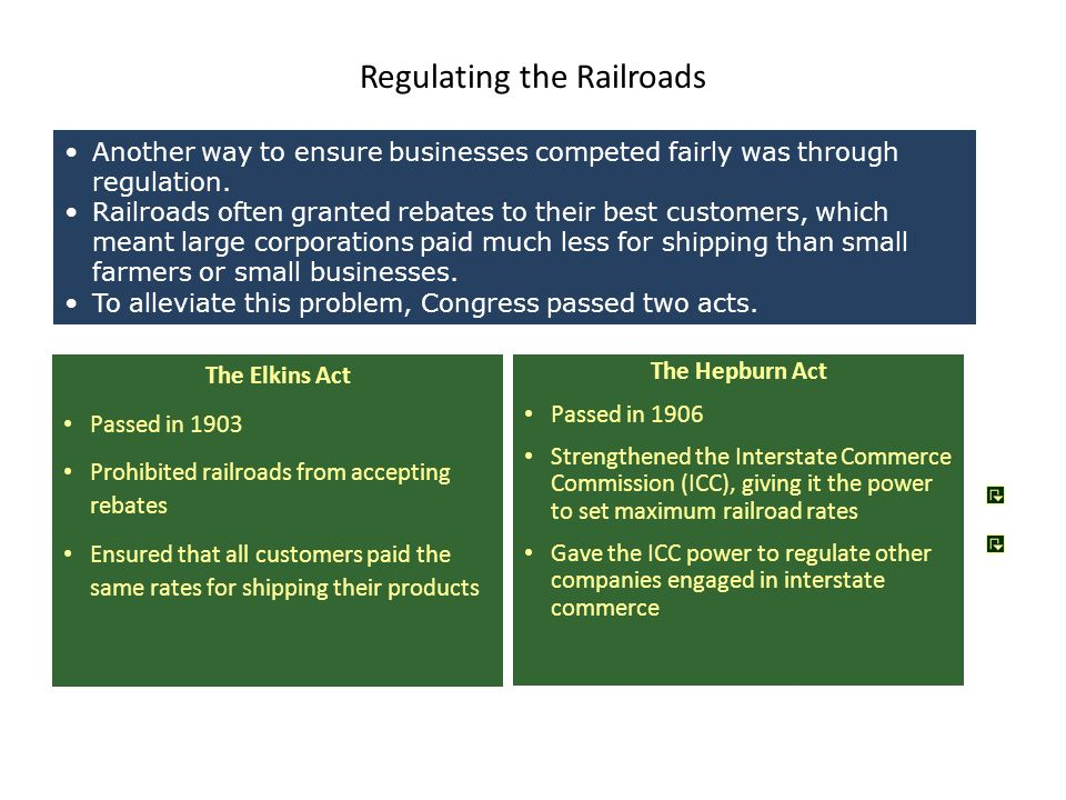 Regulating the Railroads The Elkins Act Passed in 1903 Prohibited railroads from accepting rebates Ensured that all customers paid the same rates for