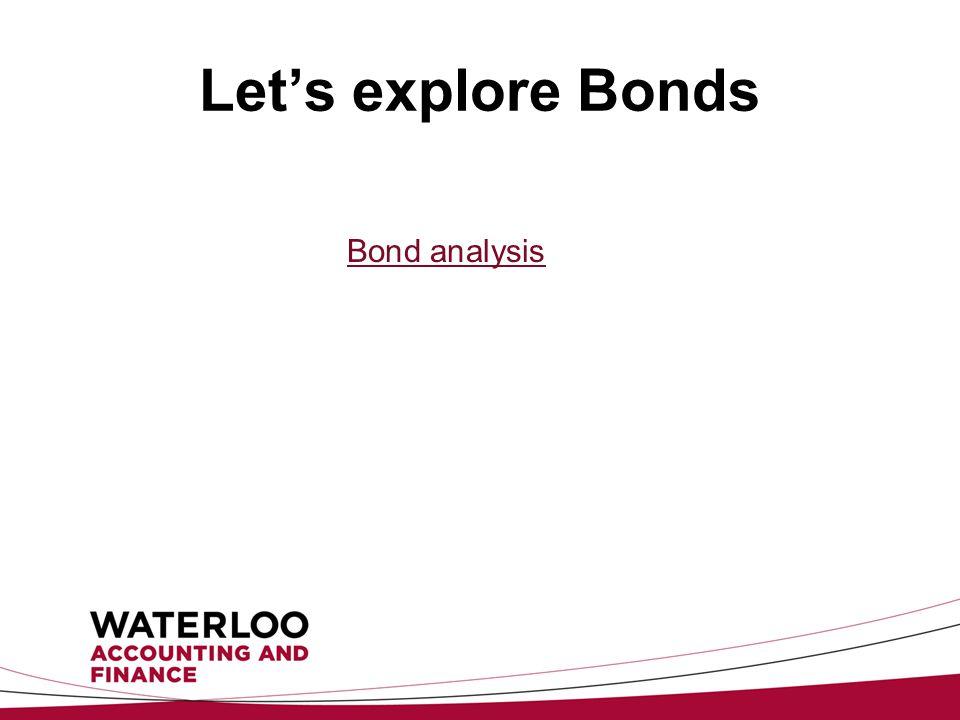Let's explore Bonds Bond analysis