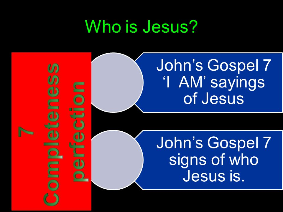 Who is Jesus? John's Gospel 7 'I AM' sayings of Jesus John's Gospel 7 signs of who Jesus is.