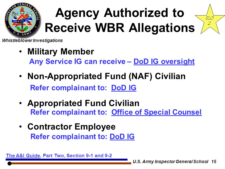 Whistleblower Investigations U.S. Army Inspector General School 15 Agency Authorized to Receive WBR Allegations Military Member Non-Appropriated Fund
