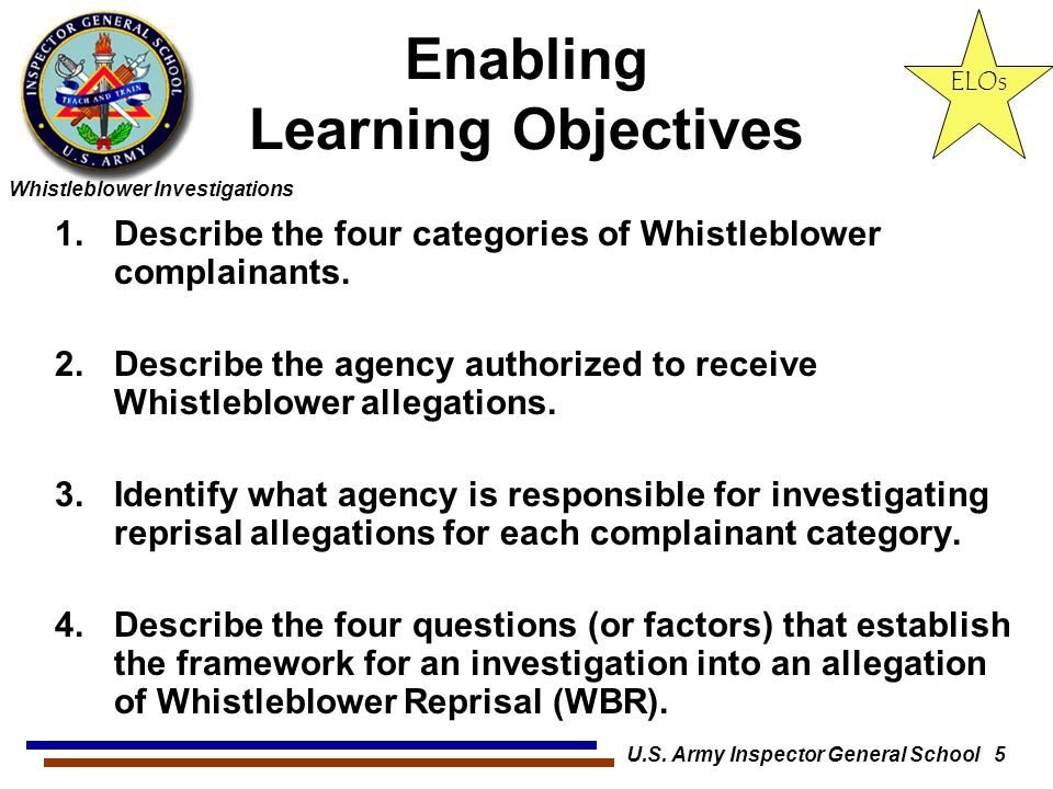 Whistleblower Investigations U.S. Army Inspector General School 5 Enabling Learning Objectives 1.Describe the four categories of Whistleblower complai