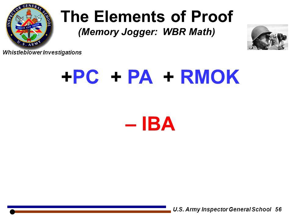Whistleblower Investigations The Elements of Proof (Memory Jogger: WBR Math) U.S. Army Inspector General School 56 +PC + PA + RMOK – IBA = WBR + IBA /