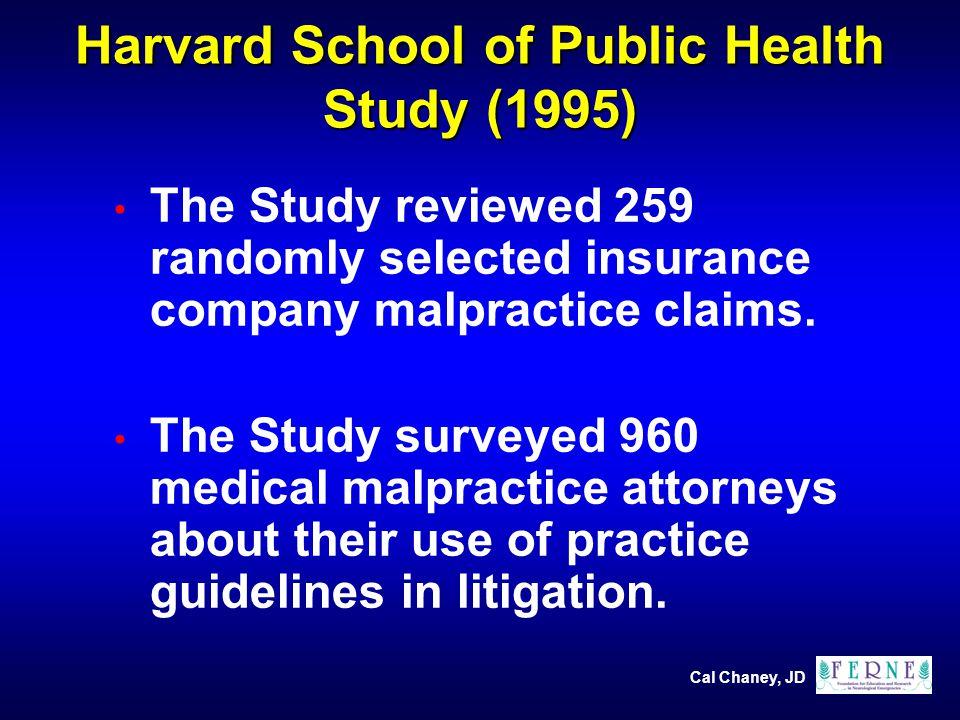 Cal Chaney, JD Harvard School of Public Health Study (1995) The Study reviewed 259 randomly selected insurance company malpractice claims.