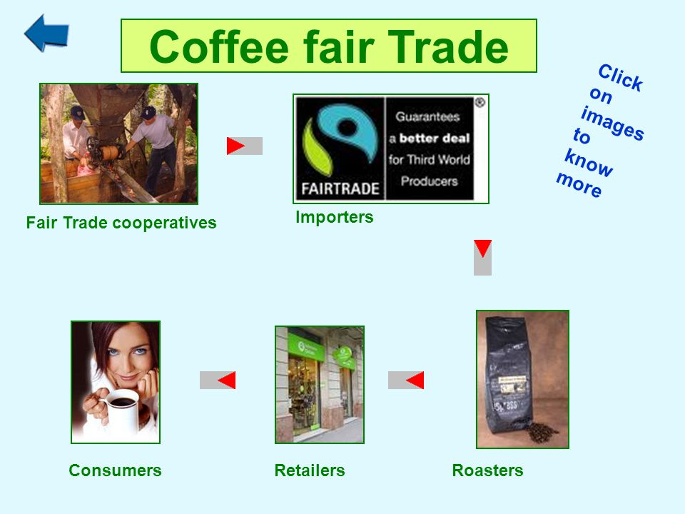 Coffee fair Trade Importers Roasters Fair Trade cooperatives Consumers Retailers Click on images to know more