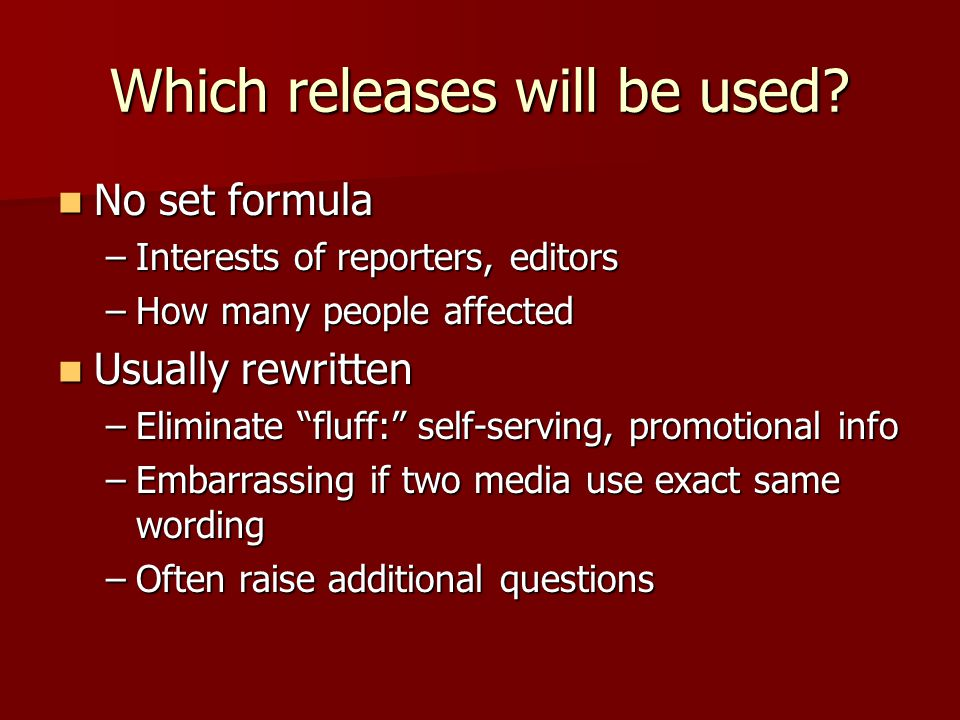 Which releases will be used.