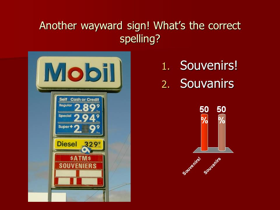 Another wayward sign! What's the correct spelling 1. Souvenirs! 2. Souvanirs
