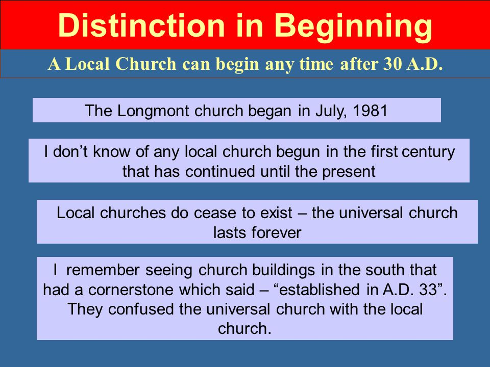 Distinction in Beginning A Local Church can begin any time after 30 A.D.