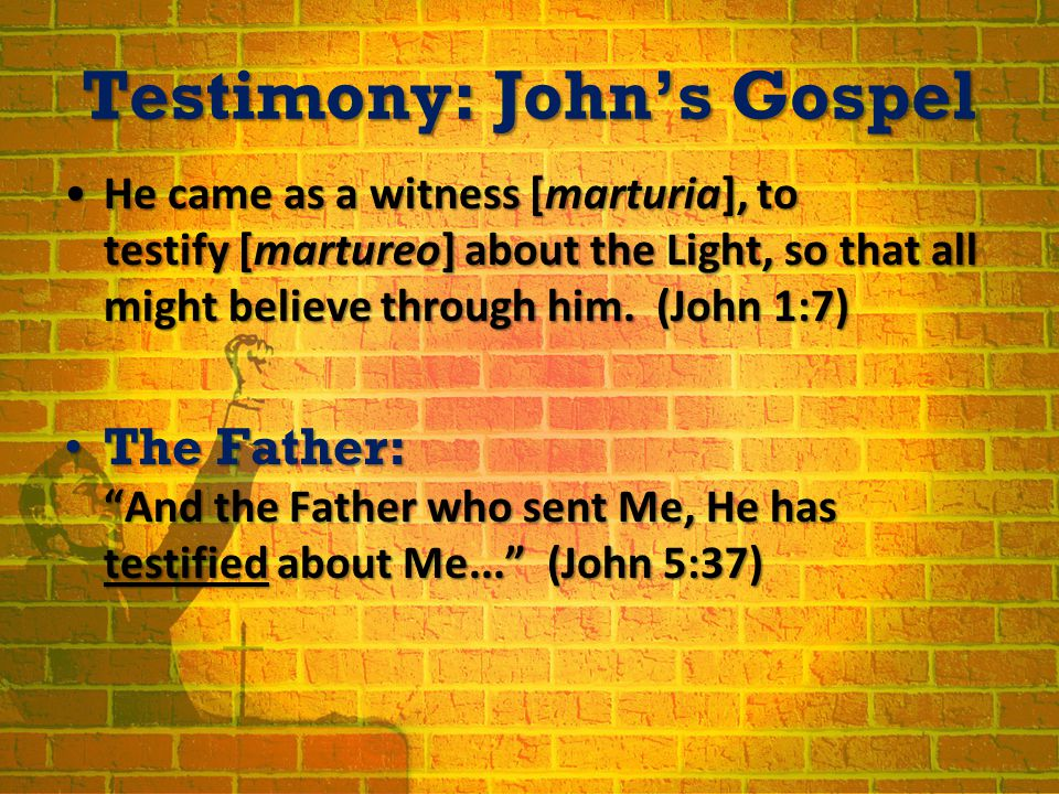 Testimony: John's Gospel He came as a witness [marturia], to testify [martureo] about the Light, so that all might believe through him.