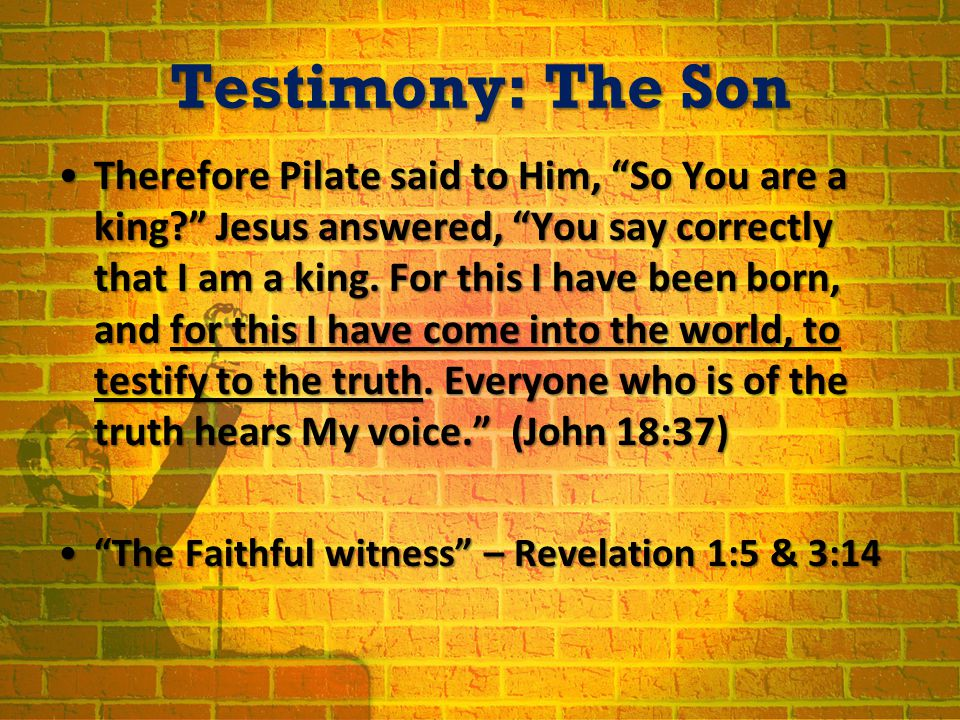 Testimony: The Son Therefore Pilate said to Him, So You are a king? Jesus answered, You say correctly that I am a king.