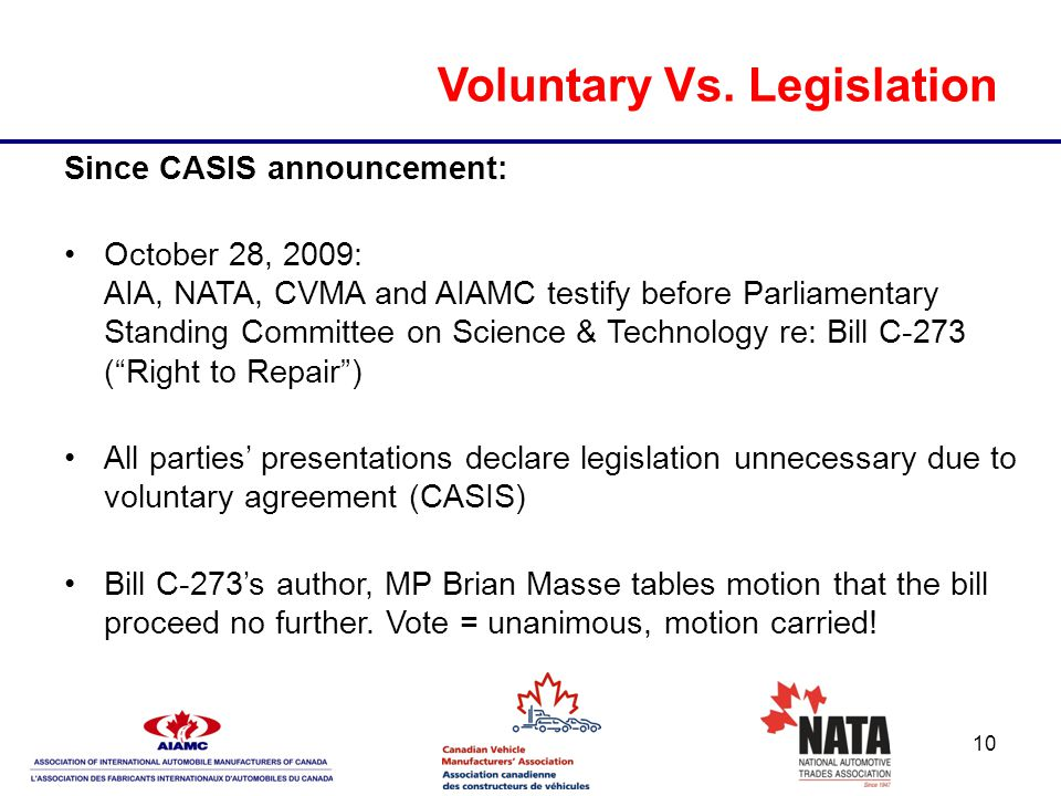 10 Voluntary Vs. Legislation Since CASIS announcement: October 28, 2009: AIA, NATA, CVMA and AIAMC testify before Parliamentary Standing Committee on