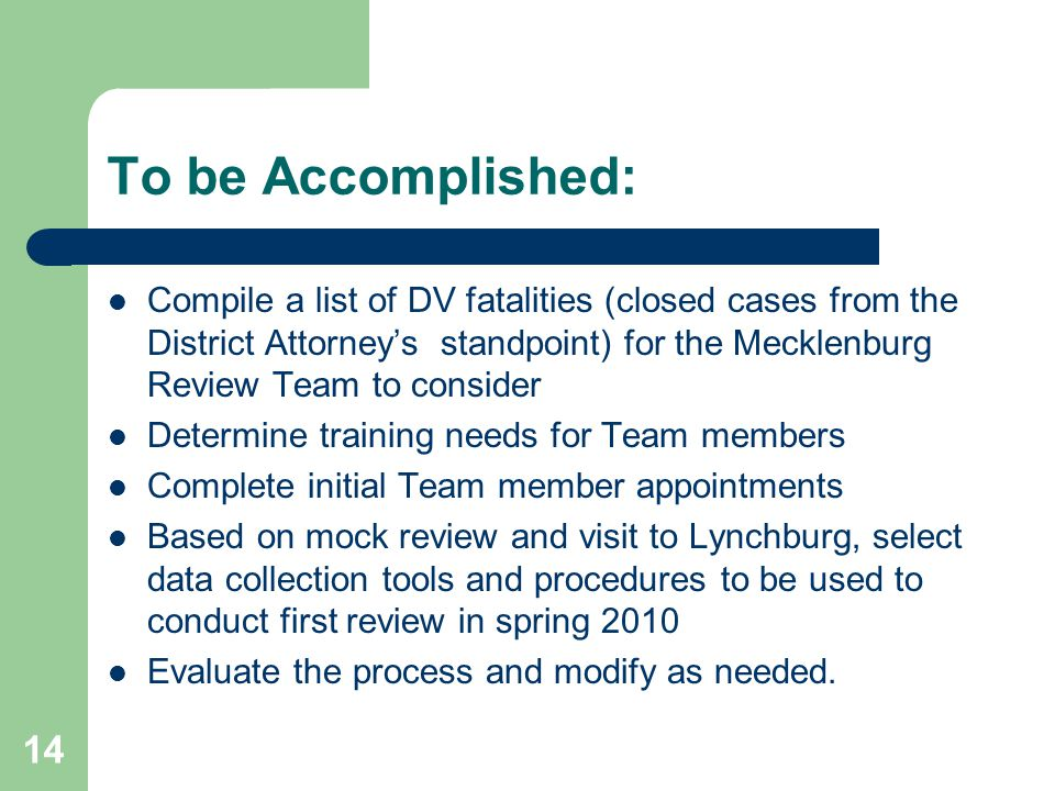 To be Accomplished: Compile a list of DV fatalities (closed cases from the District Attorney's standpoint) for the Mecklenburg Review Team to consider Determine training needs for Team members Complete initial Team member appointments Based on mock review and visit to Lynchburg, select data collection tools and procedures to be used to conduct first review in spring 2010 Evaluate the process and modify as needed.