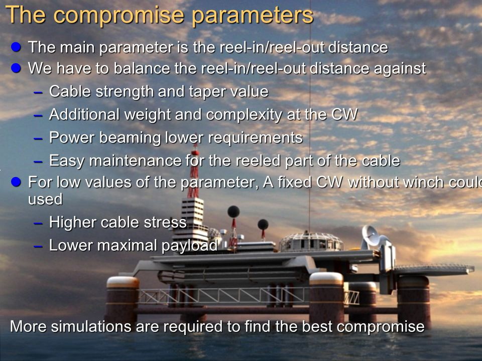 15 The main parameter is the reel-in/reel-out distance The main parameter is the reel-in/reel-out distance We have to balance the reel-in/reel-out dis