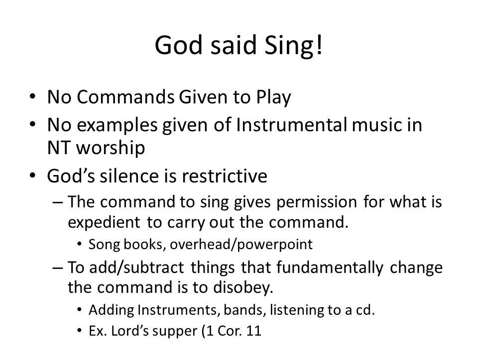 God said Sing.