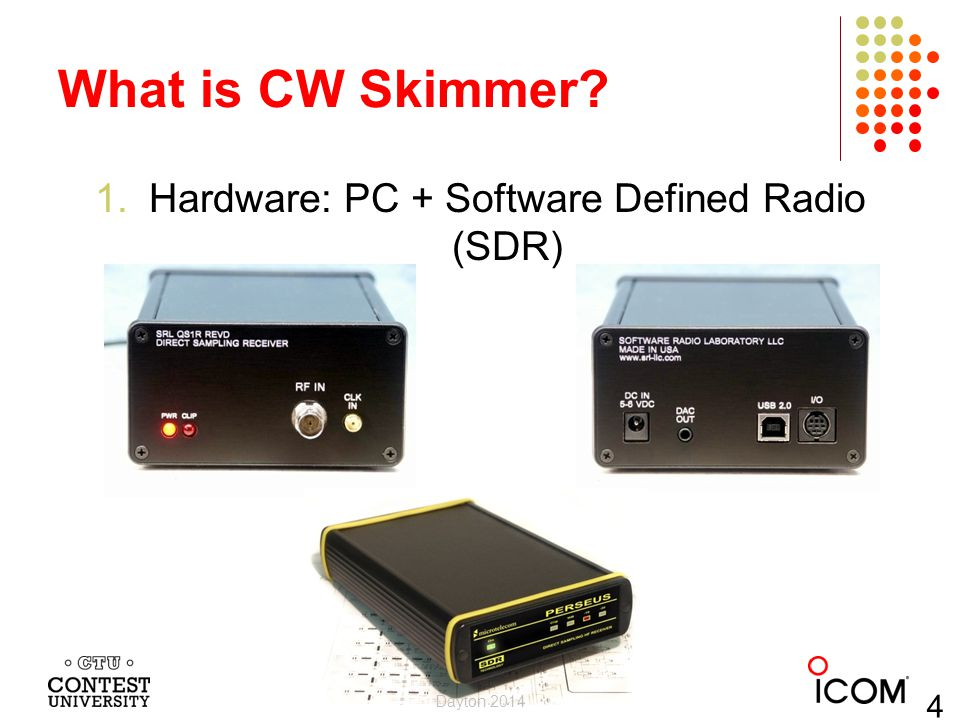 What is CW Skimmer? 1.Hardware: PC + Software Defined Radio (SDR) Dayton 2014 4