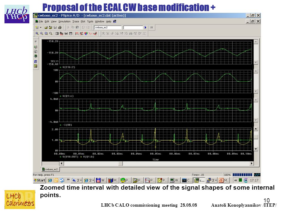 10 LHCb CALO commissioning meeting 28.08.08 Anatoli Konoplyannikov /ITEP/ Proposal of the ECAL CW base modification + Zoomed time interval with detailed view of the signal shapes of some internal points.