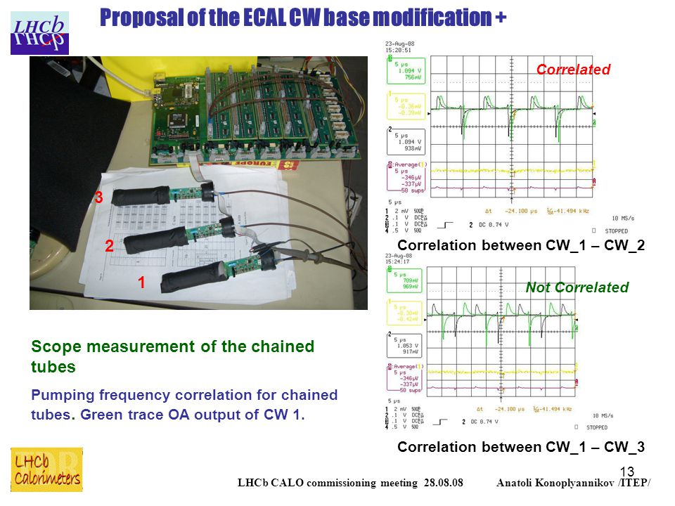 13 LHCb CALO commissioning meeting 28.08.08 Anatoli Konoplyannikov /ITEP/ Proposal of the ECAL CW base modification + Scope measurement of the chained tubes Pumping frequency correlation for chained tubes.