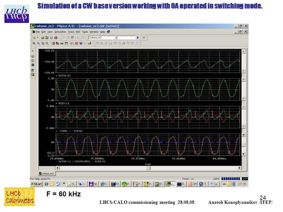 24 LHCb CALO commissioning meeting 28.08.08 Anatoli Konoplyannikov /ITEP/ F = 60 kHz Simulation of a CW base version working with OA operated in switching mode.