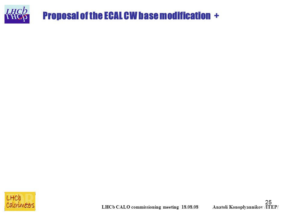 25 LHCb CALO commissioning meeting 18.08.08 Anatoli Konoplyannikov /ITEP/ Proposal of the ECAL CW base modification +