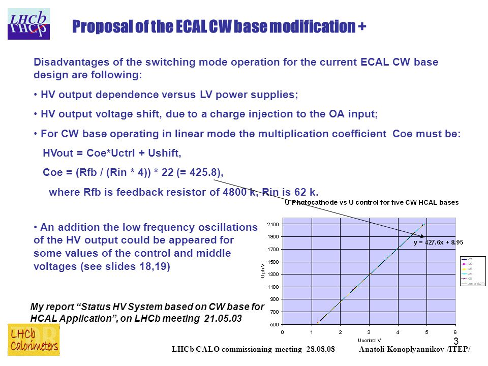 3 LHCb CALO commissioning meeting 28.08.08 Anatoli Konoplyannikov /ITEP/ Proposal of the ECAL CW base modification + Disadvantages of the switching mode operation for the current ECAL CW base design are following: HV output dependence versus LV power supplies; HV output voltage shift, due to a charge injection to the OA input; For CW base operating in linear mode the multiplication coefficient Coe must be: HVout = Coe*Uctrl + Ushift, Coe = (Rfb / (Rin * 4)) * 22 (= 425.8), where Rfb is feedback resistor of 4800 k, Rin is 62 k.