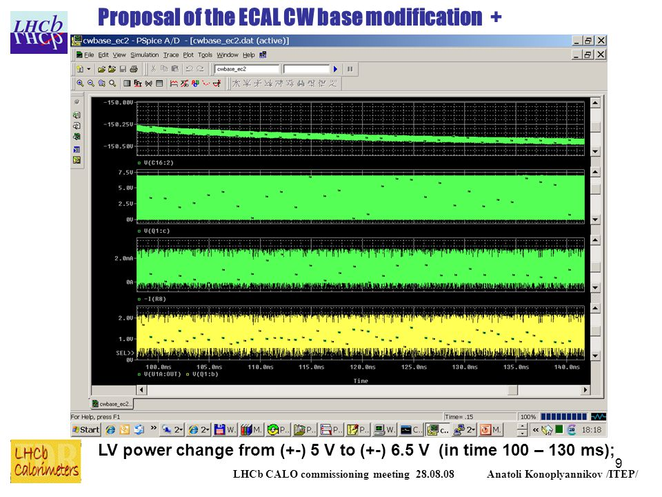 9 LHCb CALO commissioning meeting 28.08.08 Anatoli Konoplyannikov /ITEP/ Proposal of the ECAL CW base modification + LV power change from (+-) 5 V to (+-) 6.5 V (in time 100 – 130 ms);