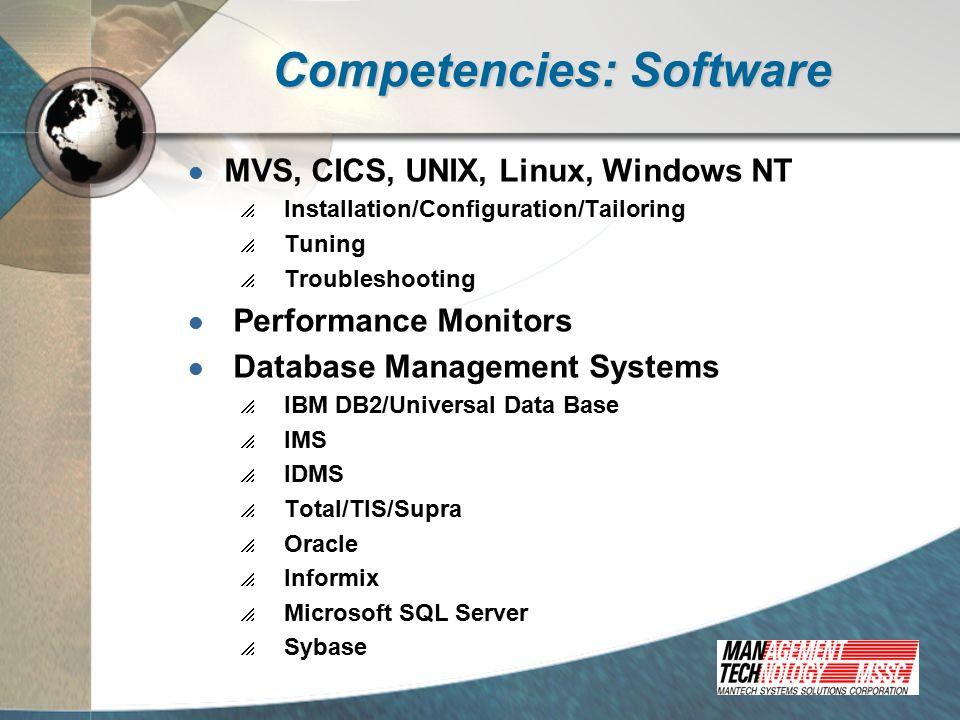 Competencies: Application Development Languages  Legacy  COBOL  PL/1  Assembler  4GL  ADS/O  MANTIS  Natural  Ideal  Client-Server/Web  C/C++  Visual Basic  Java/Websphere  Developer 2000  Powerbuilder  ObjectView  Vision  DHTML/ASP/IIS CASE Tools  VisualAge Generator  ADW  Designer 2000 Architectures  Host-centric  Client/Server  Distributed  Web-based Hardware Environments  IBM Mainframe  Various UNIX  Intel Software Environments  MVS  AIX/UNIX  OS/2  Windows