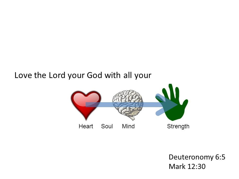 Love the Lord your God with all your HeartSoulStrengthMind Deuteronomy 6:5 Mark 12:30