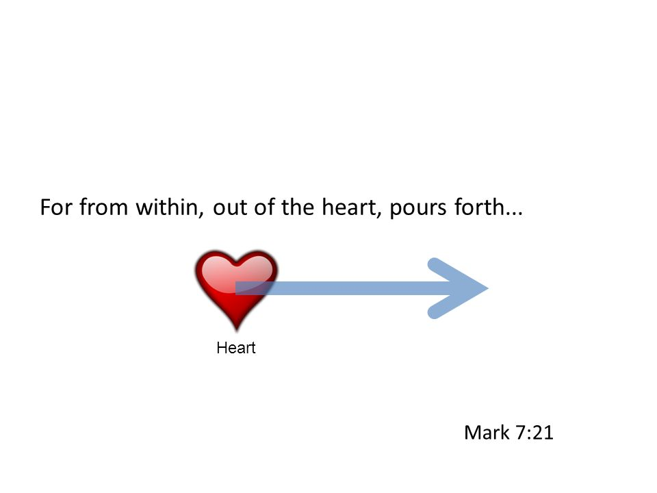 For from within, out of the heart, pours forth... Heart Mark 7:21
