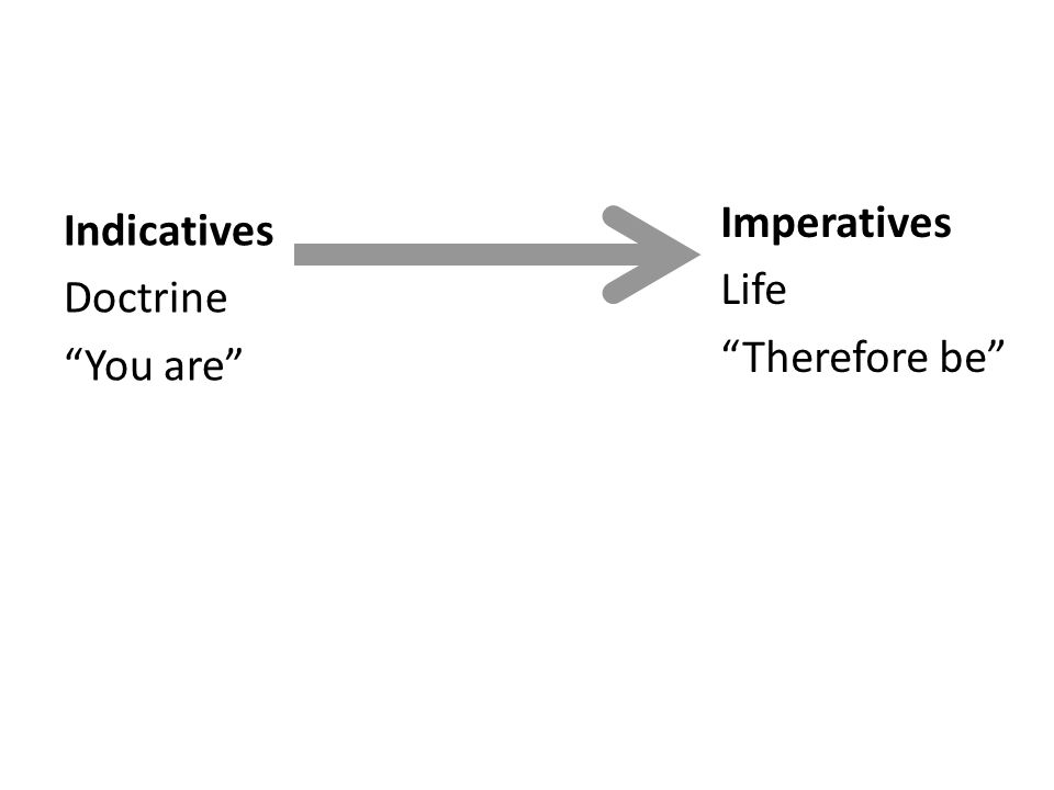 Indicatives Doctrine You are Imperatives Life Therefore be