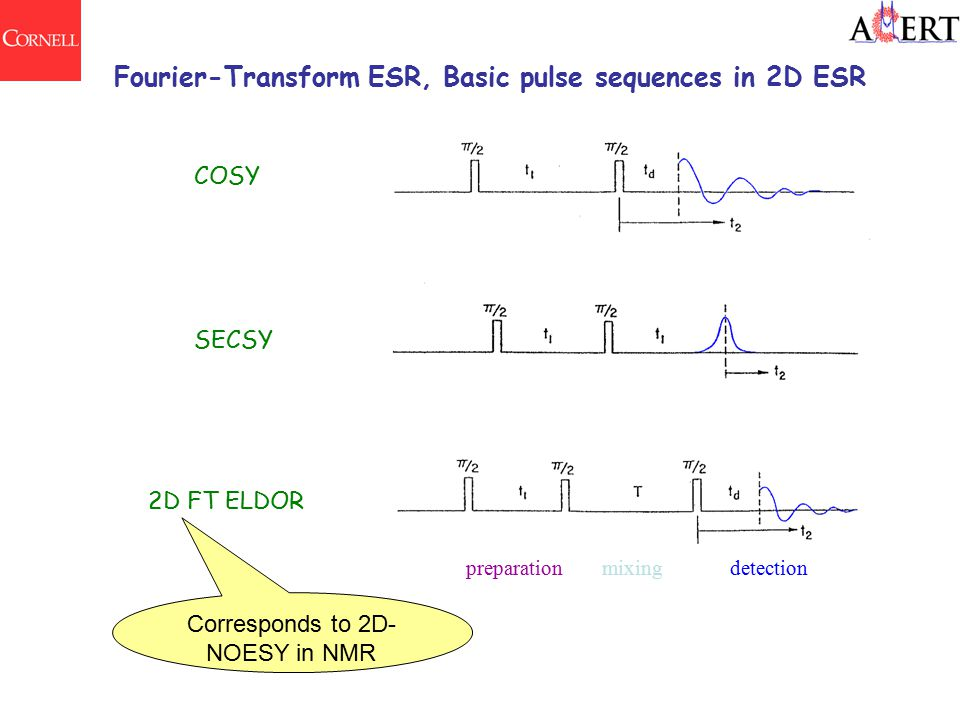 Fourier-Transform ESR, Basic pulse sequences in 2D ESR COSY SECSY 2D FT ELDOR preparationmixingdetection Corresponds to 2D- NOESY in NMR