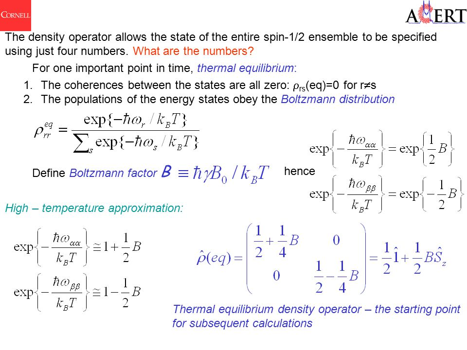 The density operator allows the state of the entire spin-1/2 ensemble to be specified using just four numbers.