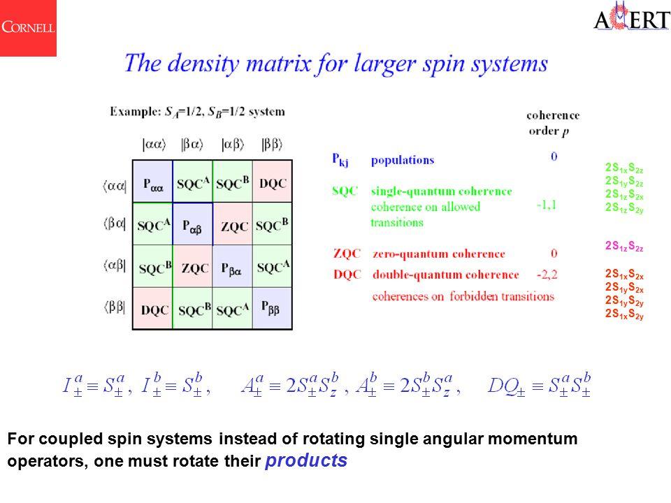 2S 1x S 2z 2S 1y S 2z 2S 1z S 2x 2S 1z S 2y 2S 1x S 2x 2S 1y S 2x 2S 1y S 2y 2S 1x S 2y 2S 1z S 2z For coupled spin systems instead of rotating single
