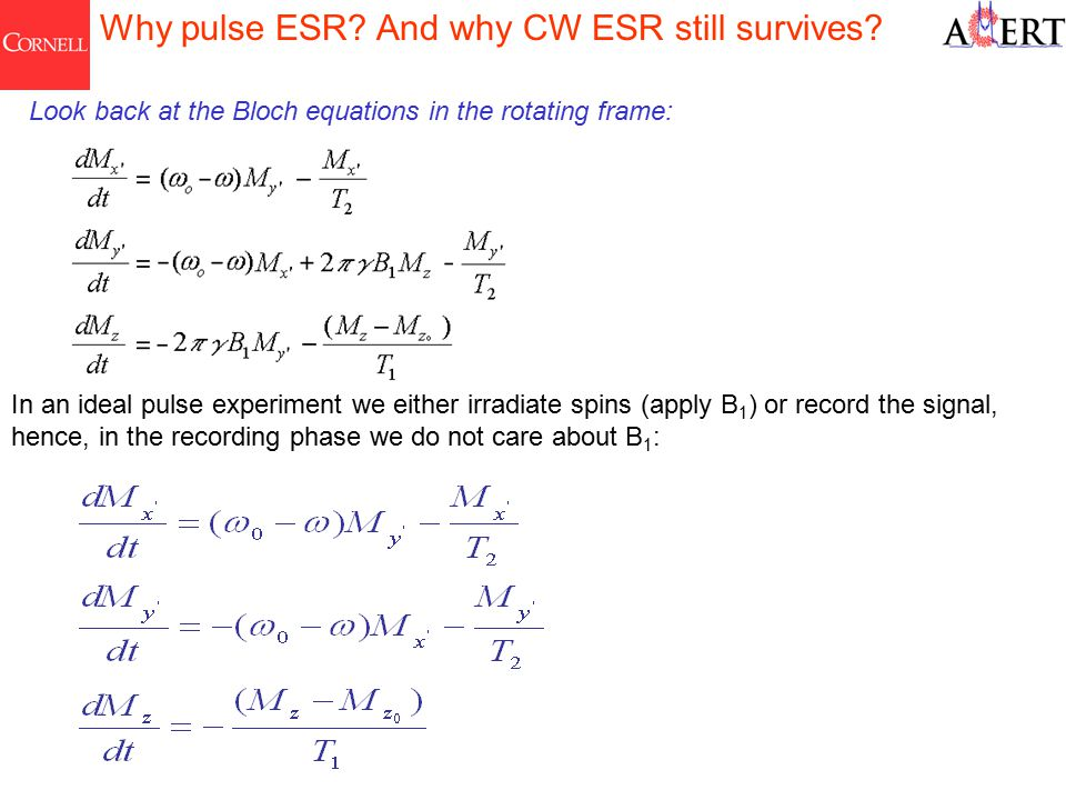 Why pulse ESR. And why CW ESR still survives.