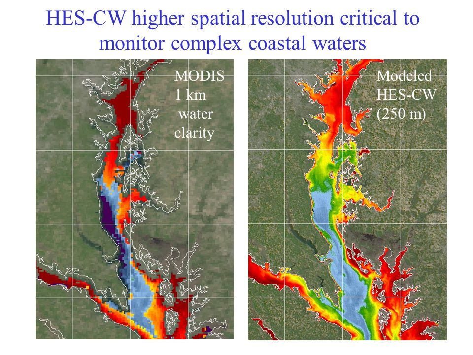 MODIS 1 km water clarity Modeled HES-CW (250 m) HES-CW higher spatial resolution critical to monitor complex coastal waters