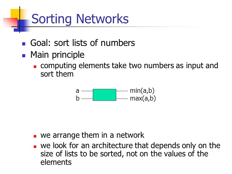 Sorting Networks Goal: sort lists of numbers Main principle computing elements take two numbers as input and sort them we arrange them in a network we look for an architecture that depends only on the size of lists to be sorted, not on the values of the elements a bmax(a,b) min(a,b)