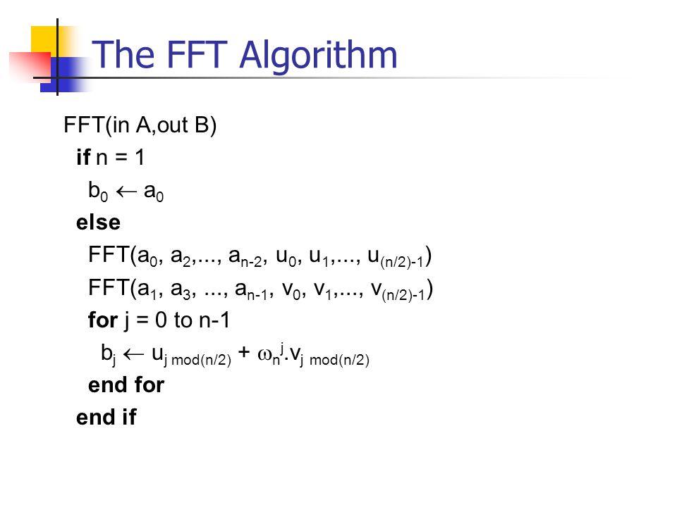 The FFT Algorithm FFT(in A,out B) if n = 1 b 0  a 0 else FFT(a 0, a 2,..., a n-2, u 0, u 1,..., u (n/2)-1 ) FFT(a 1, a 3,..., a n-1, v 0, v 1,..., v