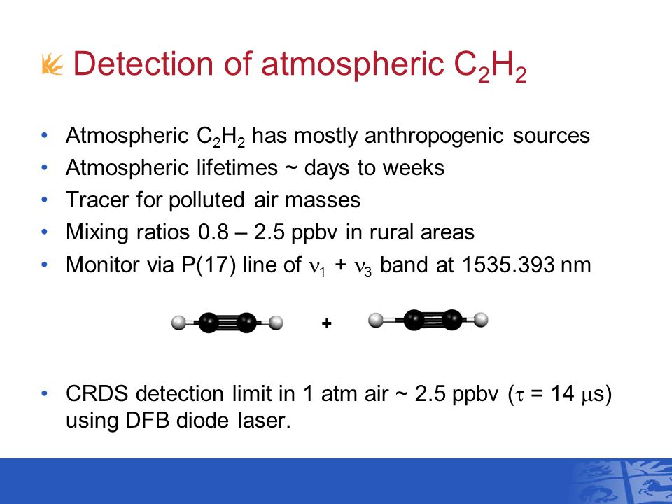 Detection of atmospheric C 2 H 2 + Atmospheric C 2 H 2 has mostly anthropogenic sources Atmospheric lifetimes ~ days to weeks Tracer for polluted air