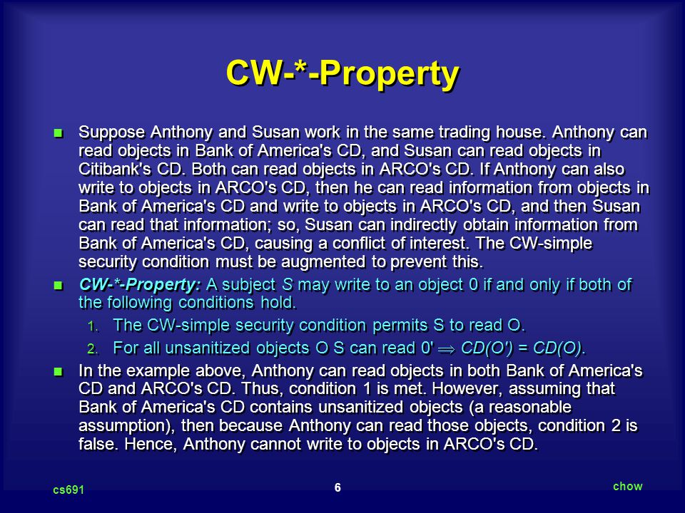 6 cs691 chow CW-*-Property Suppose Anthony and Susan work in the same trading house.