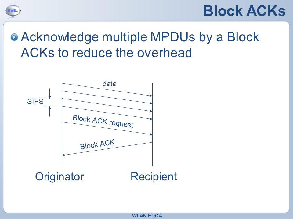 Block ACKs Acknowledge multiple MPDUs by a Block ACKs to reduce the overhead WLAN EDCA OriginatorRecipient data Block ACK request Block ACK SIFS